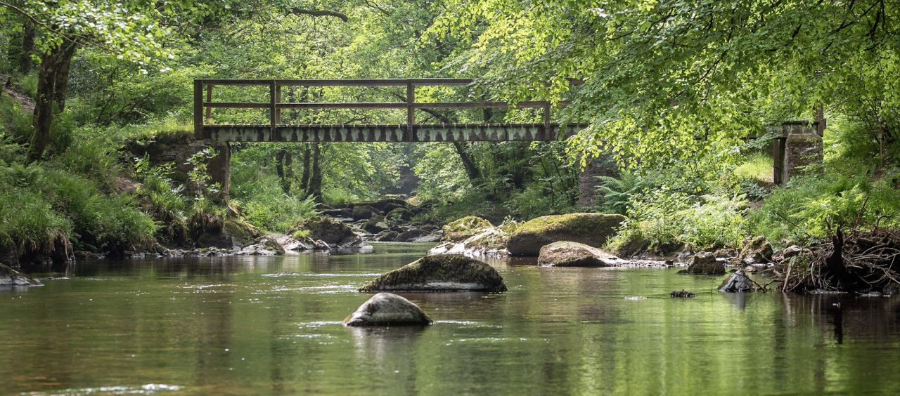 East Lyn River at Watersmeet in Exmoor National Park North Devon